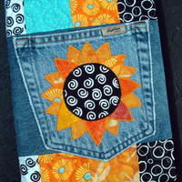 Sunny Sunflower Recycled Denim Quilted Jean Pocket Journal Cover