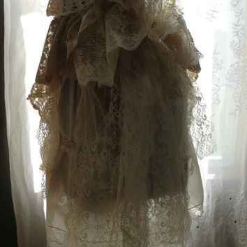 Wedding bridal gown vintage lace, one of a kind, altered couture, vintage shabby chic