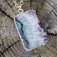 Amethyst Druzy Slice Necklace Drusy Quartz Agate Pendant Jewelry in Silver- Free Shipping