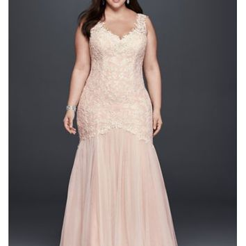 Plus Size Beaded Trumpet Wedding Dress - Davids Bridal