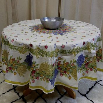 French Tablecloth Provencal Acrylic Coated Cotton Rose Lavender White