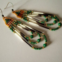 Porcupine Quill Beaded Earrings - Amber - Green