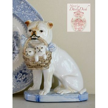 Vintage Bulldog Tan & Cream Staffordshire Dog Figurine w/ Blue Bow & Basket of Puppies - English Country Decor
