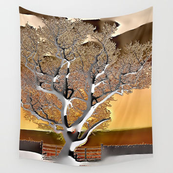 Abstract Post-Apo Landscape - Lone Tree, apocalyptic view, glowing quicksilver, orange, brown colors Wall Tapestry by Casemiro Arts - Peter Reiss