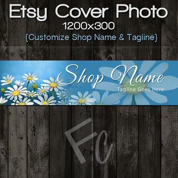 Etsy Shop Cover Photo 1200x300, Premade White Daisy Flowers Design, Large Floral Banner, Customize Shop Name, Looks Great on Mobile Devices
