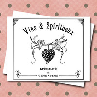 Note Card Set French Wine Label Grapes Vins & Spiritueux Spirits Alcohol Booze Beer Notecards Vino