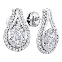 Diamond Fashion Earrings in 14k White Gold 0.74 ctw