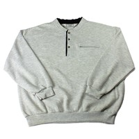 Vintage 90s 3-Button Pullover Sweater in Gray Mens Size Large