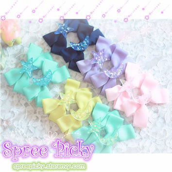 Pastel Cute Jelly Glitter Moon/Star/Heart/Sakura Bows Hair Clip SP130250