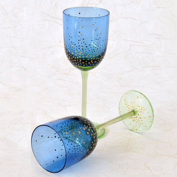 Wine Glasses Blue and Green with Gold Enhancement - Set of 2 Stemware