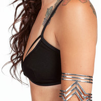 Silver Tribal Arm Cuff