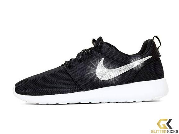 Nike Roshe One + Crystals -Black White from Glitter Kicks  30251fb38