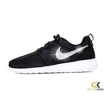 Nike Roshe One + Crystals -Black White from Glitter Kicks  b6f5dd74b3b2