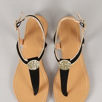 Bamboo Cope-57Y Coin Ornament T-Strap Slingback Flat Sandal