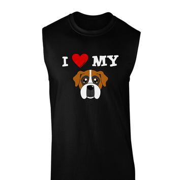 I Heart My - Cute Boxer Dog Dark Muscle Shirt  by TooLoud