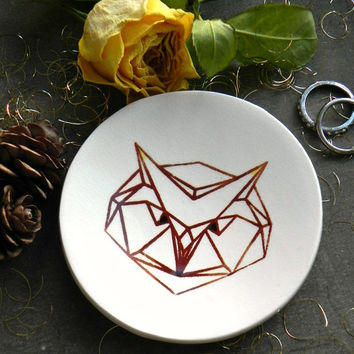 Geometric Owl Porcelain Ring Dish Bird Trinket Dish White Ceramic Plate Woodland Jewelry Dish Christmas Gift