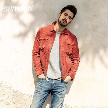 SIMWOOD 2018 Autumn Jacket Men Casual Fit Corduroy Coats For Men Fashion Long Sleeve Basic Single Breasted Brand Outwear 180300
