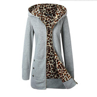 Plus Size Hot Sale Winter Hats Thicken Leopard Hoodies Jacket [9307393156]