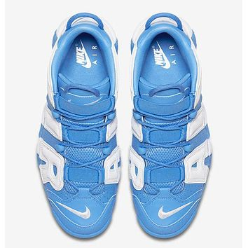 Nike Air More Uptempo Fashion Women Men Casual Sports Basketball Shoes Sneakers White/Blue