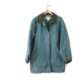 Vintage LL Bean Barn Coat Blue Green Denim Chore Jacket Ranch Coat Oversized Trench Coat Large Pockets Women's Plus Size XL XXL