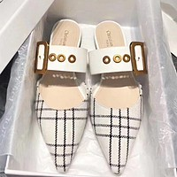 DIOR New Popular Women Pointed Plaid Half-Slippers Sandals Shoes