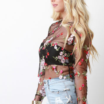 Mesh Embroidered Floral Raw Edge Top