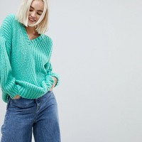 ASOS Oversized Jumper in Rib with Pleat Sleeve at asos.com