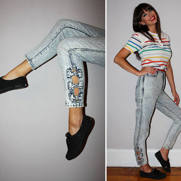 Vintage 80s High Waisted Acid Wash Jeans / ANKLE BOWS + Cutouts / SKINNY Jeans, Cigarette, Ankle / Xs Small