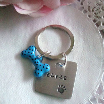 Customized Personalized Dog Name Hand Stamped Keychain With Dog Bone Charm Choose Your Color