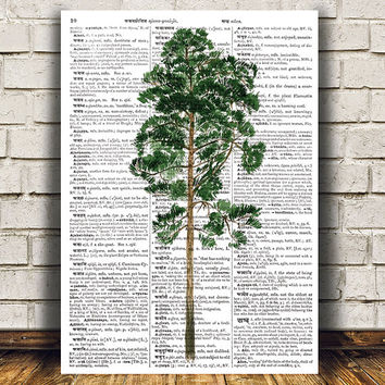 Tree print Pine tree poster Dictionary decor Watercolor print RTA1346
