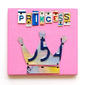 PRINCESS with crown license plate art, OOAK sign, girls room, nursery, daddy's little girl, baby, christmas gift
