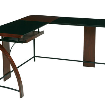OSP Designs Emette Home Office Corner Desk With L-Shape Workstation Design & Glass Top