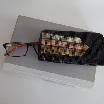 Whiting and Davis Metal Mesh Eyeglass Case, Art Deco Style, Black with Brass Copper Silver Design, Vintage 1980's Retro