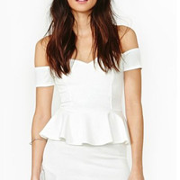 Off The Shoulder Peplum Dress in White