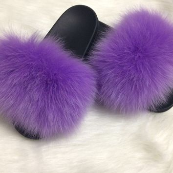 Lilac purple fox fur slides fluffy sandals