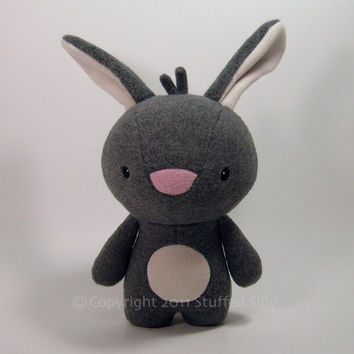Grey Bunny Rabbit Stuffed Animal Plush Toy by stuffedsilly on Etsy