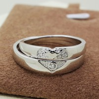 Engraved Heart Shaped Wedding Rings for Women and Men