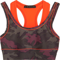 LAAIN - Printed double-layered stretch-jersey sports bra