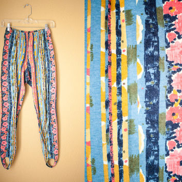 Vintage 80s Leggings    Vintage Tights Skinny Pants 80s High Waisted Pants Abstract Floral Tights Romantic Fall Fashion Stirrup Pants 90s