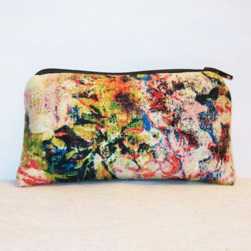 "Trippy Flower Painting Print Cotton Padded Pipe Pouch 5.5"" / Glass Pipe Case / Spoon Cozy / Piece Protector / Pipe Bag / SMALL"
