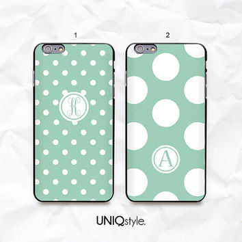 Personalized custom name monogram initial mint polka dot - iPhone 6, iPhone 4/4s/5/5s/5c, Samsung S3 mini, S4, S5, S5 active, Note 4 - N46