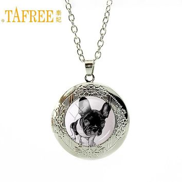 TAFREE Lovely Animals Style choker Necklace innocent pug high quality locket pendant great Christma gift long chain jewelry A142