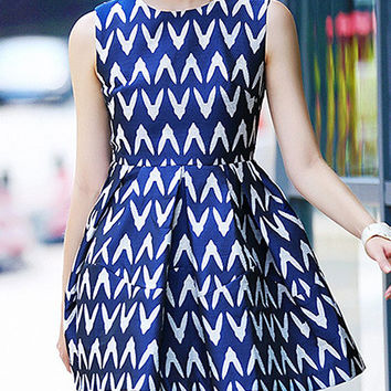 Blue Printed Sleeveless High Waist A-Line Pleated Mini Dress