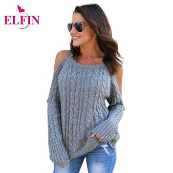 Women Cold Shoulder Soild Color Knitted Long Sleeve Women Fashion Pullovers Sweaters Clothing WS4047R