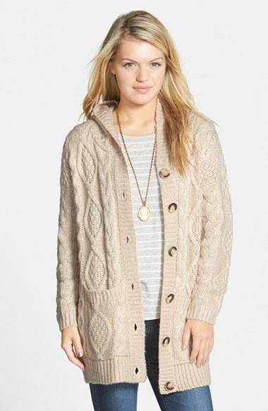 c0ef590a56 Junior Women s Dreamers by Debut Cable Knit Hooded Cardigan