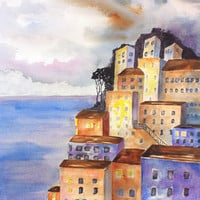 Amalfi Coast, Original Watercolor painting, 12x16, Mediterranean landscape,Sky at Dusk,Campania, Italy