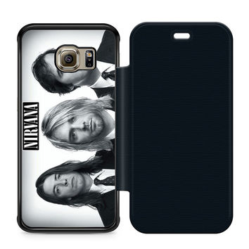 Nirvana Band Leather Wallet Flip Case Samsung Galaxy S6 Edge