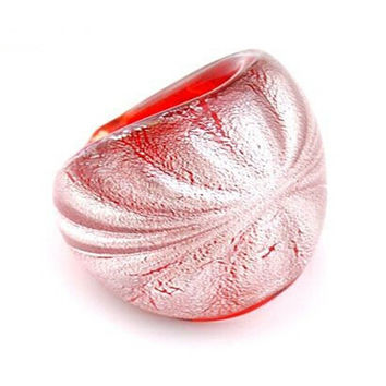 NEW Fashion Vintage Abstract Handwork Murano Lamp Work Art Glass Ring For Women 4Colors Size 8
