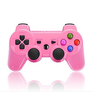 Wireless Double Shock Game Controller for Sony PS3 (Shiny Pink)