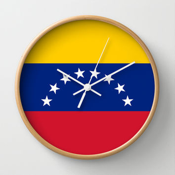 The national flag of the Bolivarian Republic of Venezuela -  Authentic version Wall Clock by Bruce Stanfield